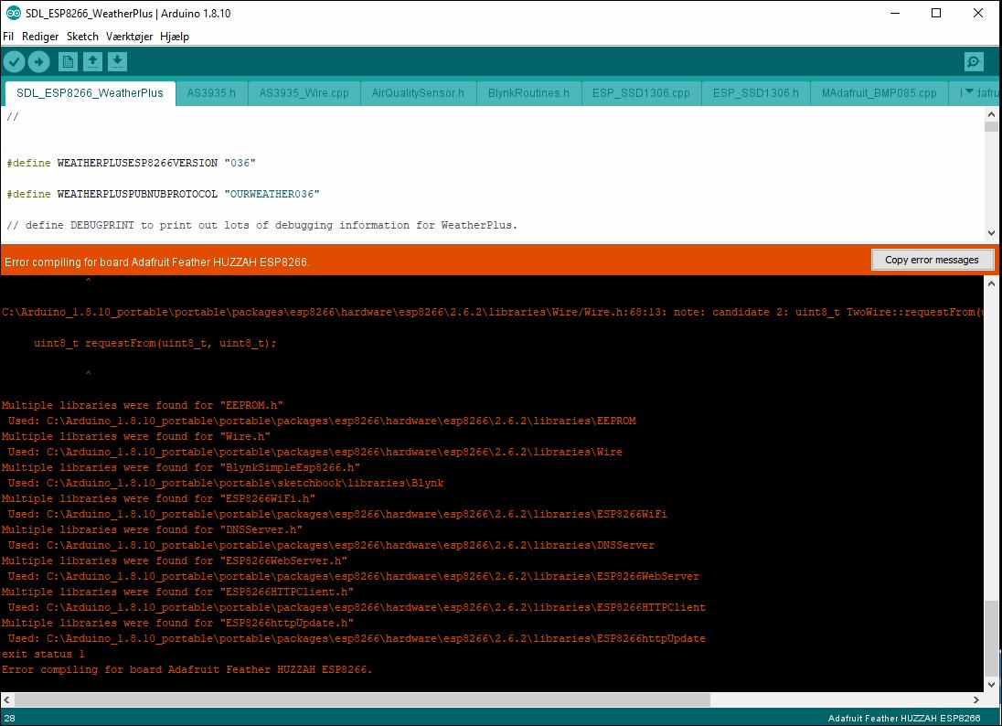 Arduino IDE compiler error